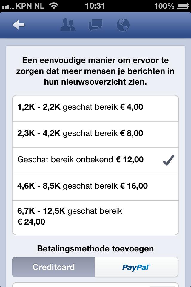 Gepromote berichten in Facebook Paginabeheer app