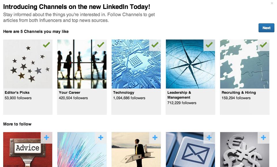 Kanalen volgen op LinkedIn Today