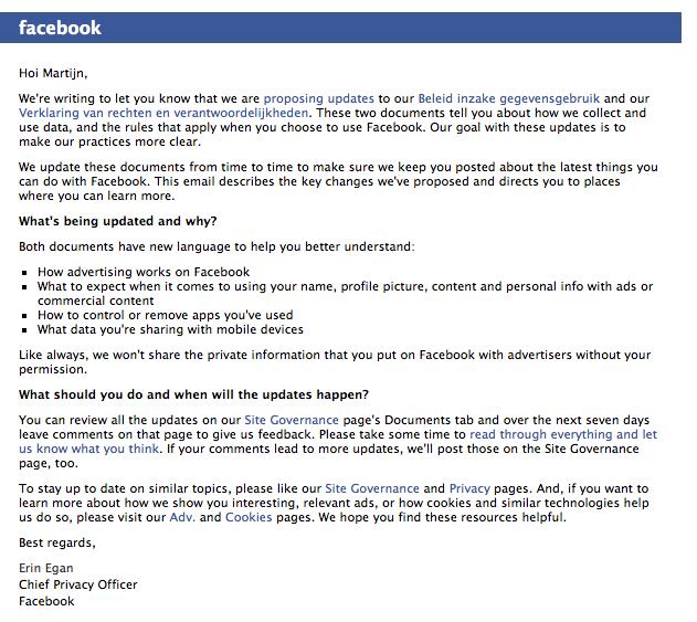 Facebook doet aanpassing aan gegevensbeleid