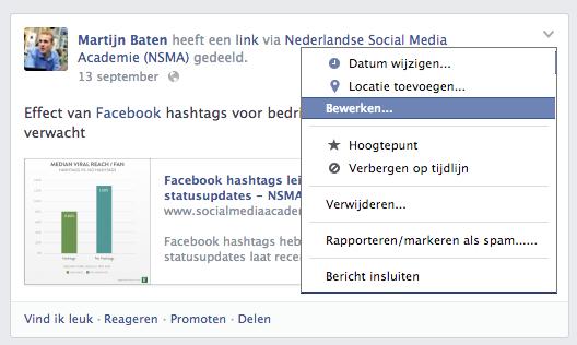 Het bewerken van een Facebook statusupdate