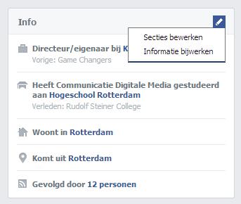 Informatie bijwerken op Facebook profiel