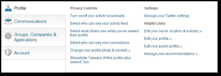 Stap 1 LinkedIn anoniem gebruiken- Updates van het LinkedIn profiel afschermen