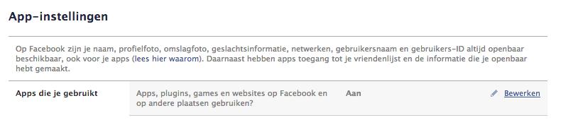Apps die je aan Facebook hebt gekoppeld