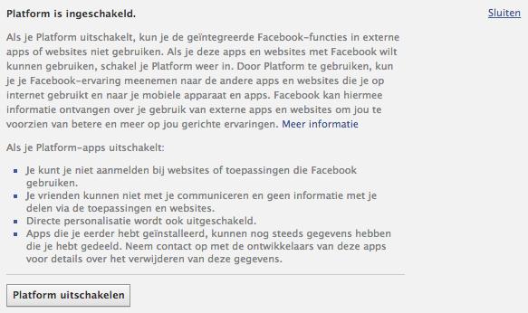 Facebook Platform uitschakelen
