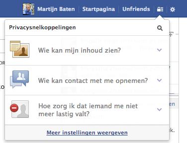 Privacysnelkoppelingen Facebook