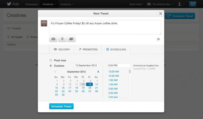 Twitter laat adverteerders tweets inplannen