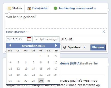 Updates inplannen op Facebook bedrijfspagina's
