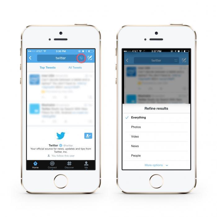 Makkelijker zoeken op Twitter voor iPhone en Android