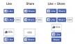 Nieuwe Facebook 'Vind ik leuk' en 'Deel' knoppen