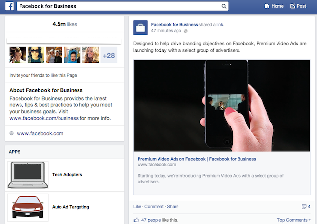 Tabbladen op nieuwe Facebook bedrijfspagina's
