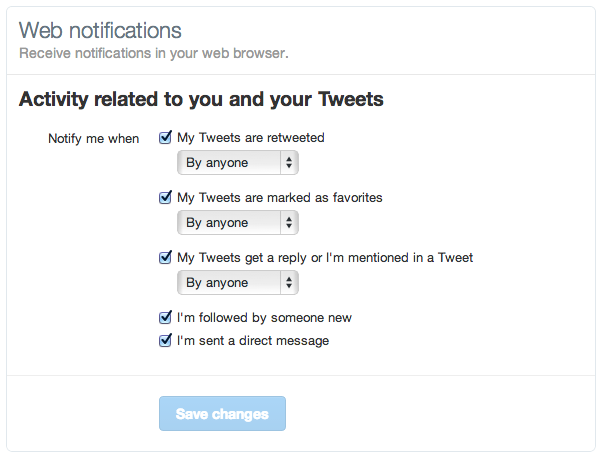 Twitter.com krijgt notificaties in de browser