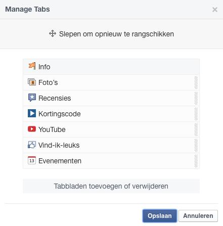 Facebook tabbladen beheren