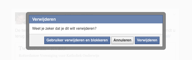 Facebook gebruiker blokkeren via een bericht op de pagina
