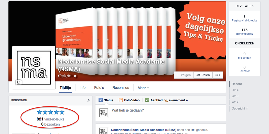 Aanbevelingen op Facebook bedrijfspagina's alleen bij fysieke locatie