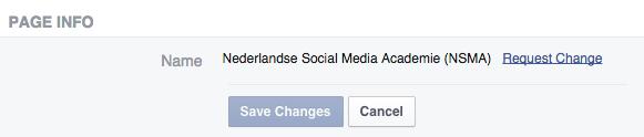 Aanvraag aanpassen naam Facebook bedrijfspagina