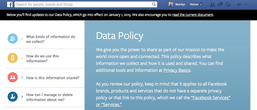 De nieuwe Facebook gebruikersvoorwaarden