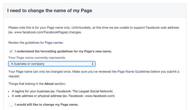 Wijzigingsformulier naam Facebook bedrijfspagina