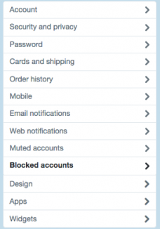 Twitter geblokkeerde accounts menu
