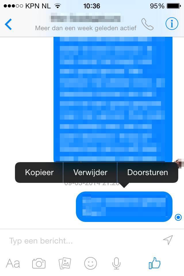 Facebook Messenger bericht verwijderen