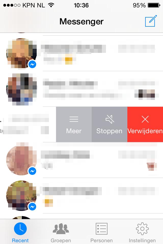 Facebook Messneger chatberichten verwijderen