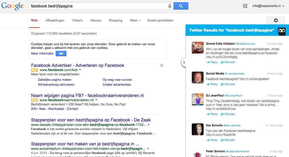 Google zoekresultaten en Twitter zoekresultaten