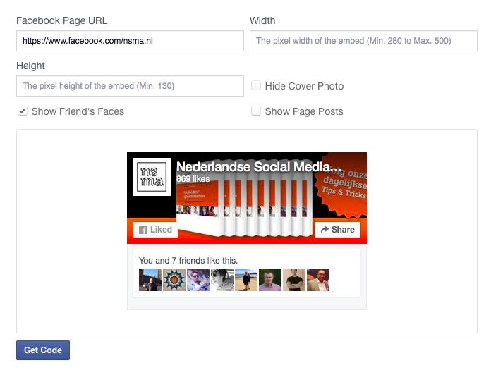 Aanmaken van de Facebook Page Plugin