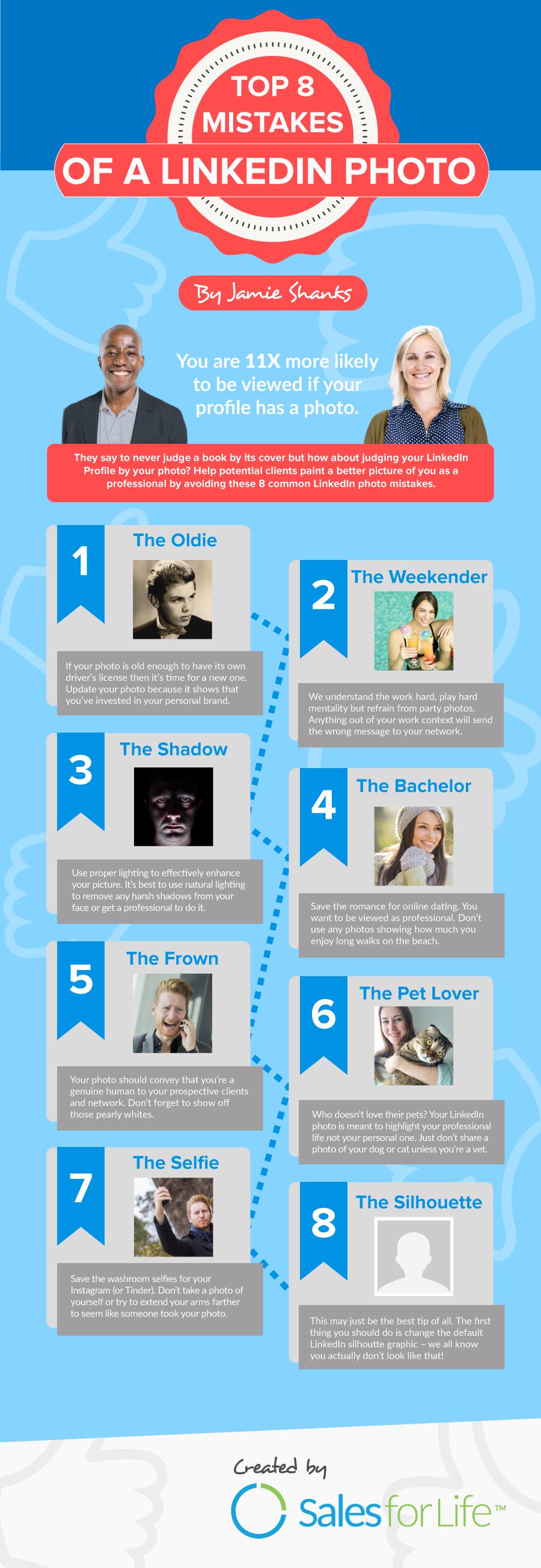 Infographic - De 8 dingen die je niet moet doen met een LinkedIn profielfoto