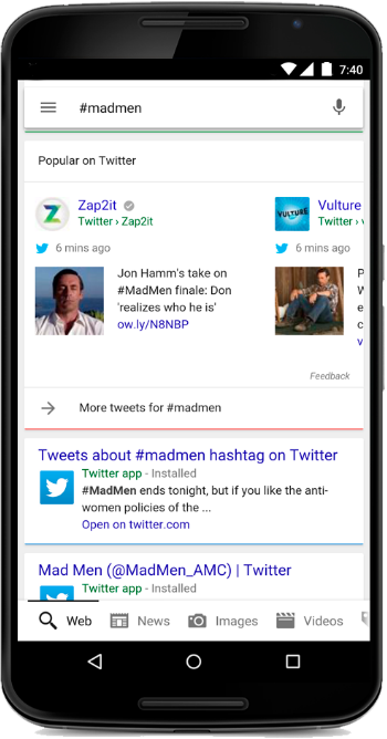 Tweets zichtbaar in Google resultaten