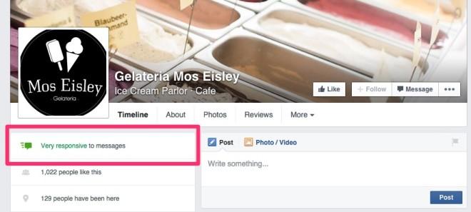 Facebook bedrijfspagina's die snel reageren krijgen markering
