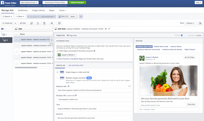 Functies Facebook Power Editor