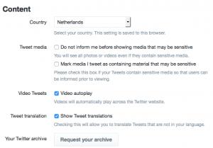 Beheren van de instellingen op Twitter verbeterd