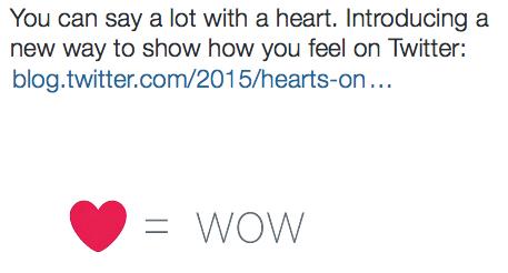 Favorieten op Twitter aangepast met hart-icoon