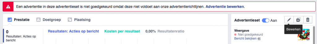 Afgekeurde Facebook advertentie