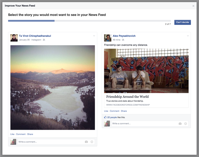 Facebook nieuwsoverzicht viral