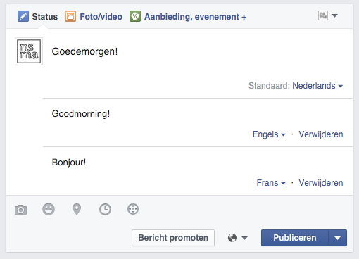 Bericht in meetdere talen op een Facebook bedrijfspagina