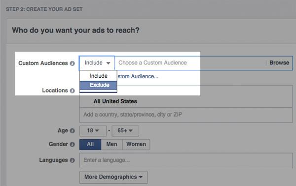 Aangepaste doelgroepen selecteren op Facebook