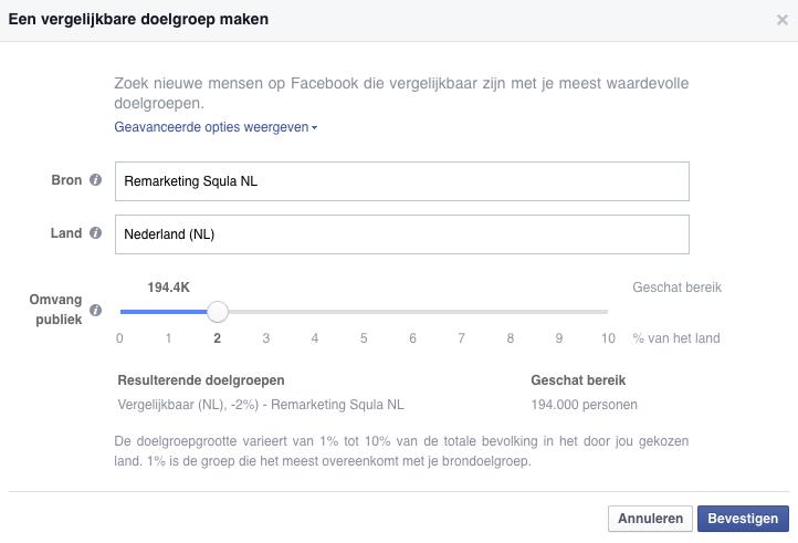 Een vergelijkbare doelgroep maken op Facebook