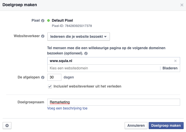 Facebook remarketing doelgroep