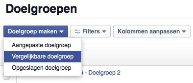 Menu doelgroepen Facebook