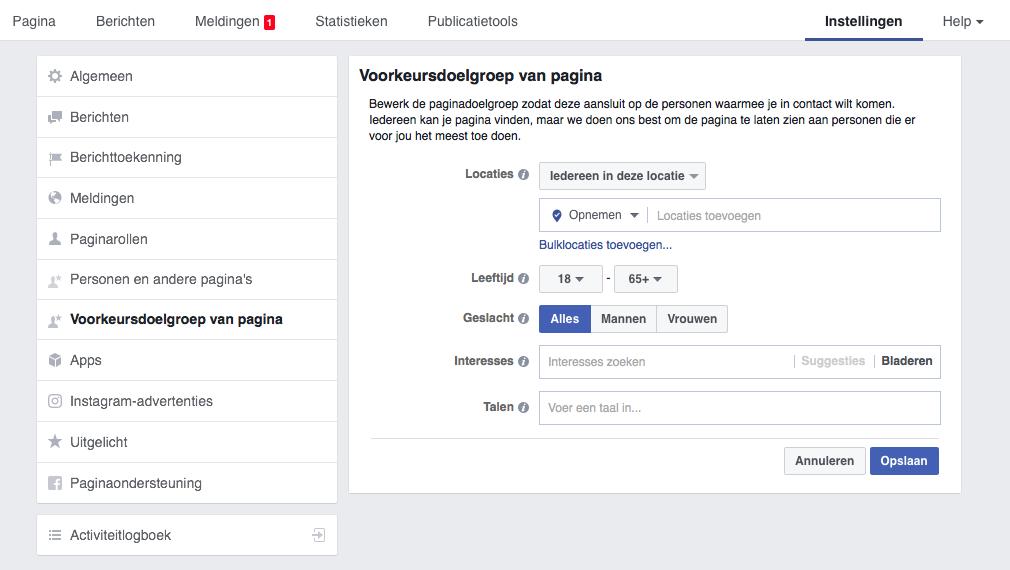 Voorkeursdoelgroep voor Facebook bedrijfspagina's instellen