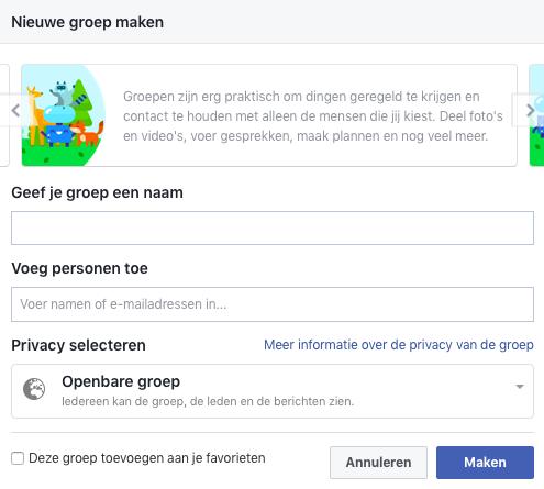 Een nieuwe Facebook groep maken