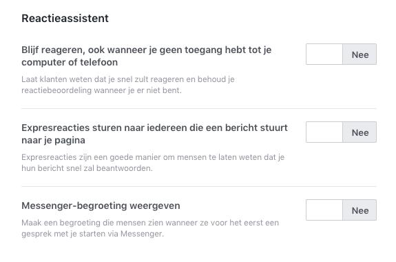 Facebook Messenger Reactieassistent