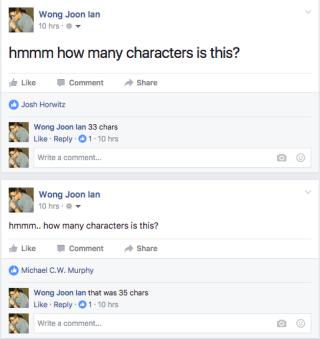 Facebook berichten met minder dan 35 karakters groter weergegeven