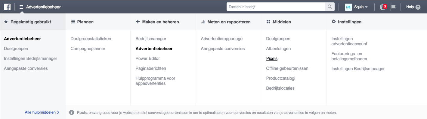 menu-van-de-facebook-advertentiemanager