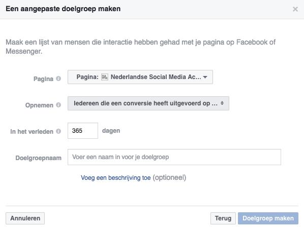Een aangepaste Facebook doelgroep maken