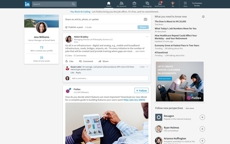 Nieuw design voor browserversie van LinkedIn