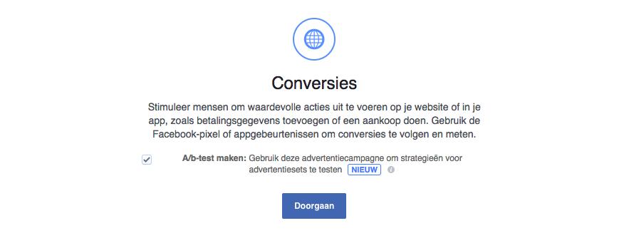 Een Facebook a-b-test maken