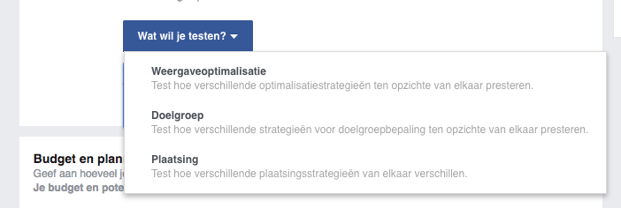 Variabele Facebook a-b-test