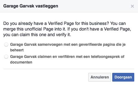 Facbook locatiepagina claimen