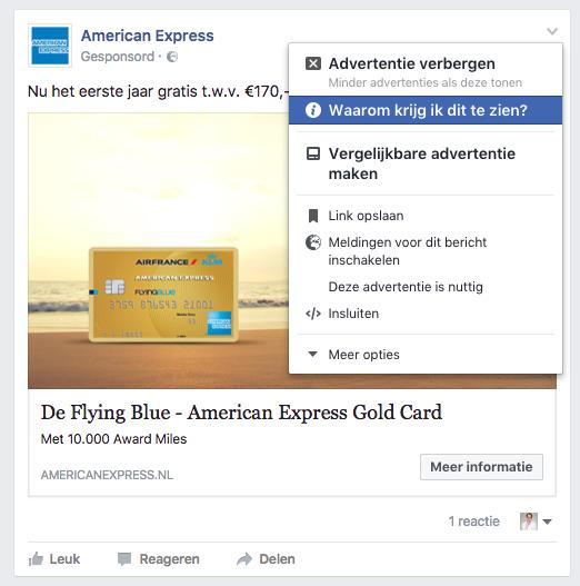 Facebook advertentie in het nieuwsoverzicht